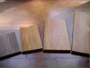 Prefinished Wood: band sawn, brushed, sculptured hand scraped, foot worn hand scraped
